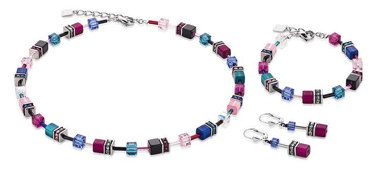 Geo Cube multicolour pink and navy set 2838_1555 – coeur de lion jewellery