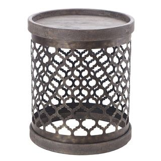 Intelligent Design Cirque Reclaimed Grey Quatrefoil Metal Drum Table - Free Shipping Today - Overstock.com - 16199360 - Mobile