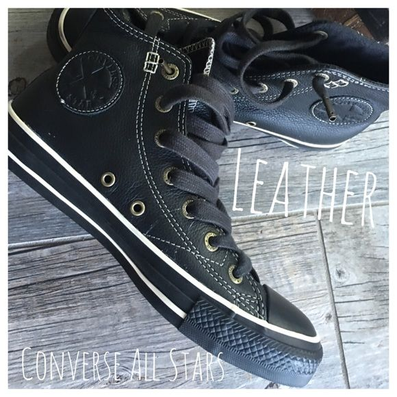 Leather Converse all star high top sneakers! EUC All leather Converse All Stars high tops! Size 8 women's /6 men's. Worn one time!!! Retail $195. Bundle in my closet and save. No PayPal's or trades! I ship same day or next day almost always. Suggested user and top-rated seller! Thank you for checking out my closet.#0190 Converse Shoes Athletic Shoes