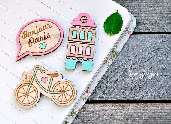 Wooden brooch, set of 3 pieces (laser cut & hand painted)    Very cute little brooches. The set includes 3 brooches on your choice, specify the