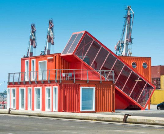 Tel Aviv, Potash Architects, modern office, office spaces, shipping containers, reused materials, prefab offices, prefab architecture, green architecture sustainable building, modular building