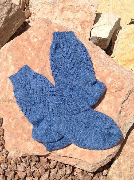 Hand Knitted Socks  Blue merino wool yarn  size 8-9.5 by olinnell