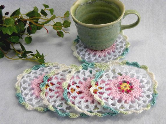 """Set of 5 Coasters Crocheted Circle Hand / Water lily / Pink flower,White,Mixed green - 3.9""""(10cm) by YuminaCafe, ¥1000"""