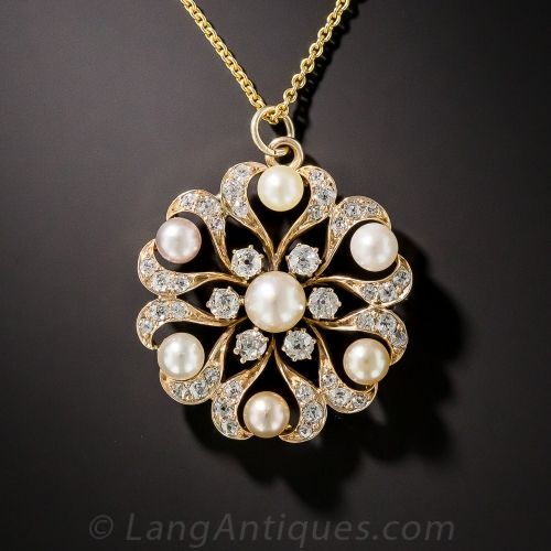 Victorian Natural Pearl and Diamond Snowflake Pendant/Pin