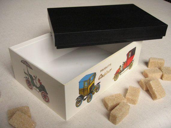 Boîte à sucre vintage avec décor de voitures anciennes / Boîte rectangulaire en plastique / Boîte de cuisine / Boîte sucrier rétro / Homme