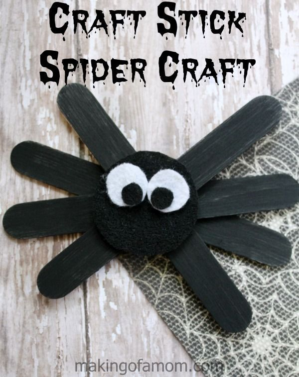 craft stick spider craft craft stickspopsicle stickseasy craftskids craftshalloween - Diy Halloween Decorations For Kids