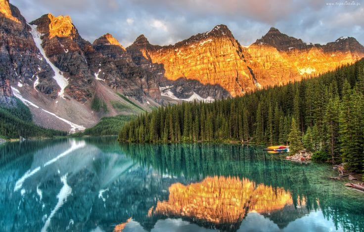 Góry, Las, Jezioro, Kajaki, Odbicie