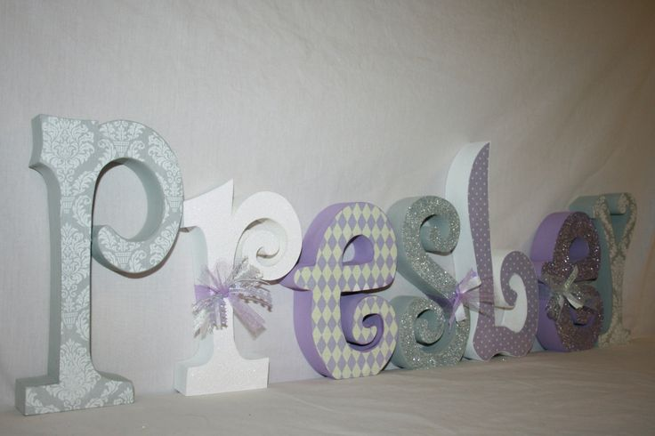 Baby girl wooden letters lavender and gray damask room decor wooden letters baby name letters nursery decor unique gift. $67.95, via Etsy.