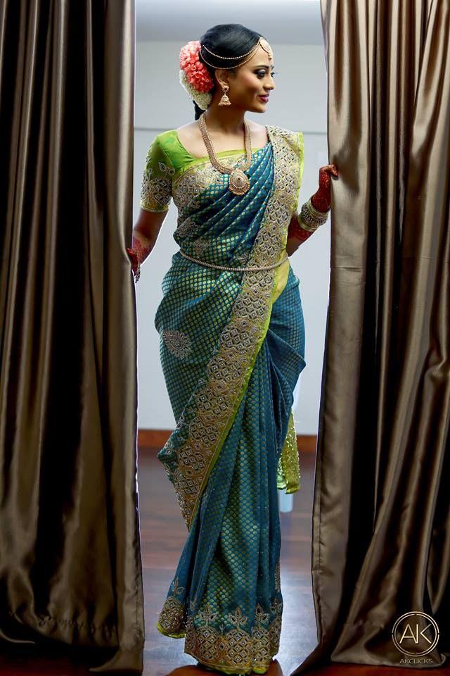 e39cfed876539d Blue silk saree with Cut work stone border