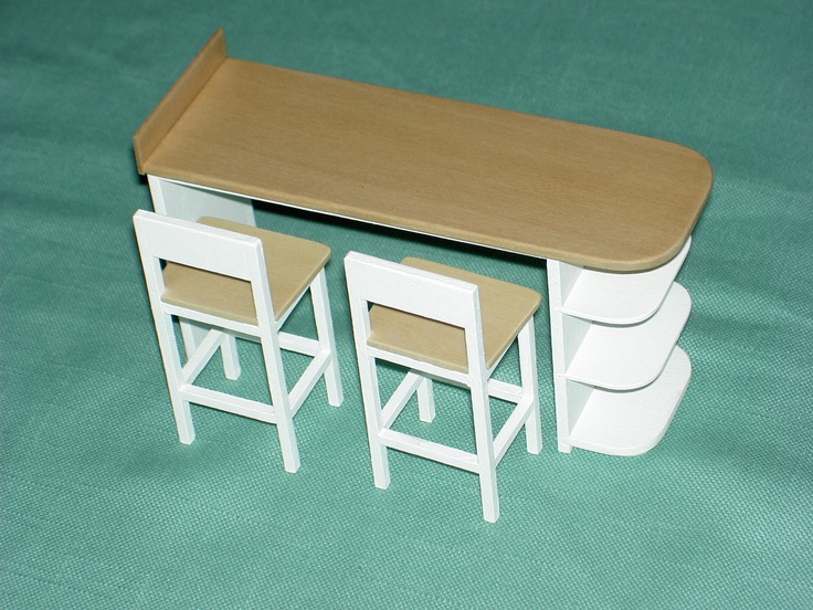 1:6 scale Miniature Kitchen Snack Bar & Stools