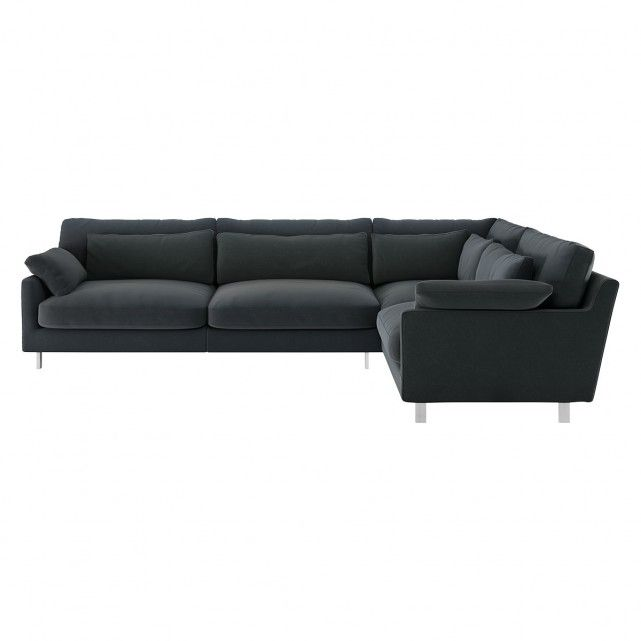 Cuscino Dark Grey Velvet Left Arm Corner Sofa Corner Sofa 2 Seater Sofa Scatter Cushions