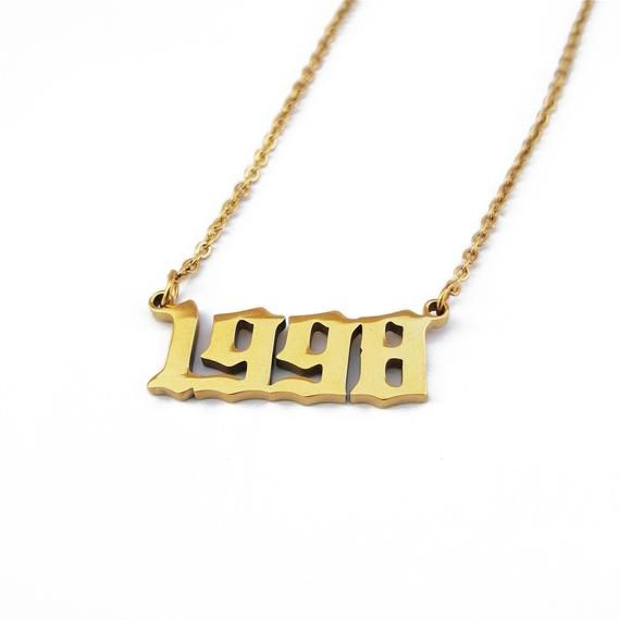 Personalized Old English Number Necklace Customized Pendants Nameplate Gold Silver Choker Year 1991 Number Necklace Gold Chain With Pendant Number Tattoo Fonts
