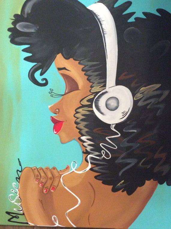 """Black Art/ African American Art """"Acoustic Sister"""" 24x30 in. Original Art"""