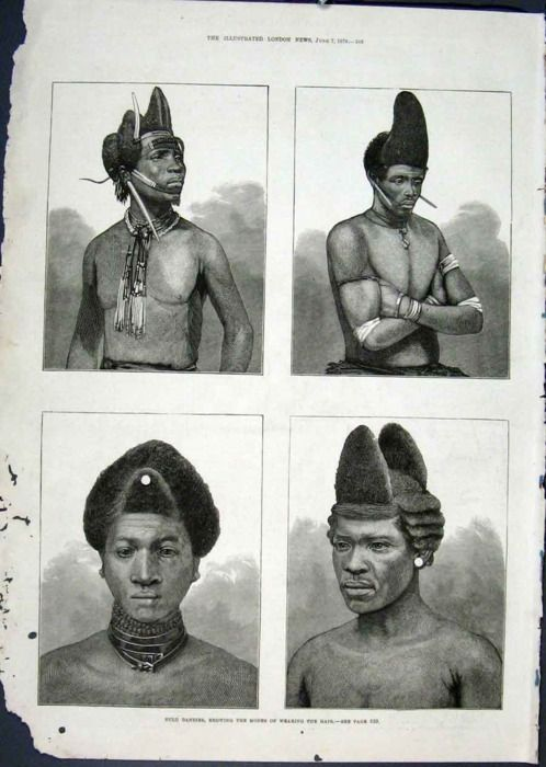 Zulu Dandies Hairstyles - South Africa 1879""