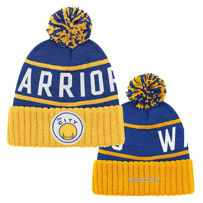 GOLDEN STATE WARRIORS NBA 'THE CITY' HARDWOOD CLASSICS HIGH 5 CUFFED KNIT HAT - ROYAL & GOLD