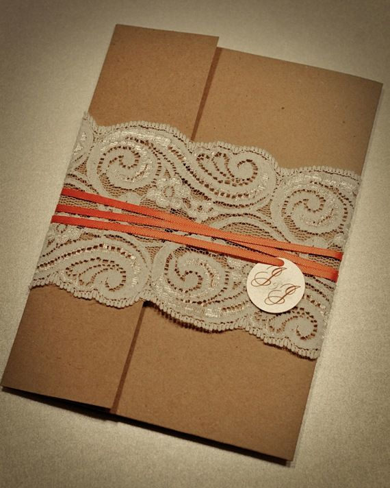 lace wrapped invitations: Lace Invitations, Brown Paper, Kraft Paper, Ribbons, Unique Wedding, Wedding Photos, Invitations Cards, Invitations Ideas, Lace Wedding Invitations