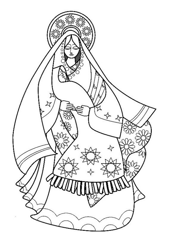 mary and jesus coloring page - the assumption of blessed virgin mary craft ideas