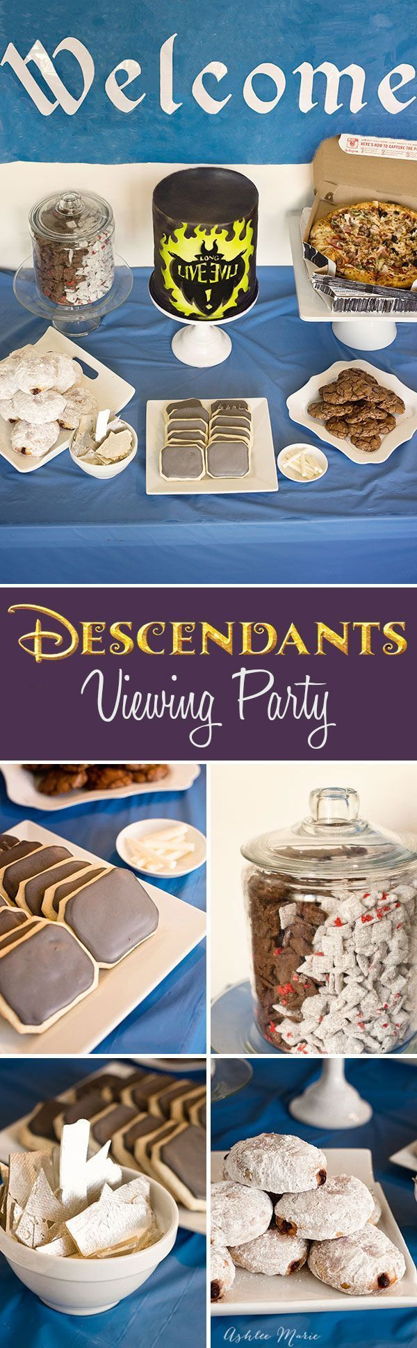 Throw your own party for Disneys Descendants movie, with cookie chalkboards, candy chalk, graffiti cake, DeVille puppy chow, love potion cookies, edible magic mirrors, and more #Disney #VillainDescendants [ad]