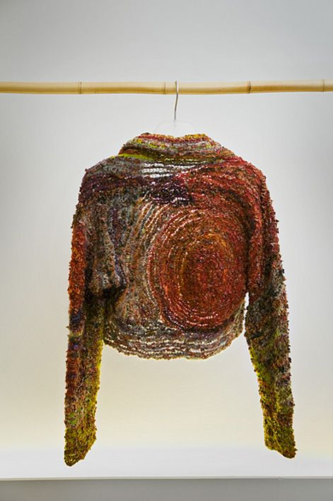 Hand dyed and crocheted cardigan with inserts of old kashmir stoles - Monique Poirier - 2010
