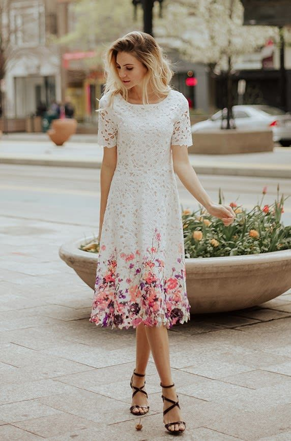 Lace Dress | Painted Flowers | Jane