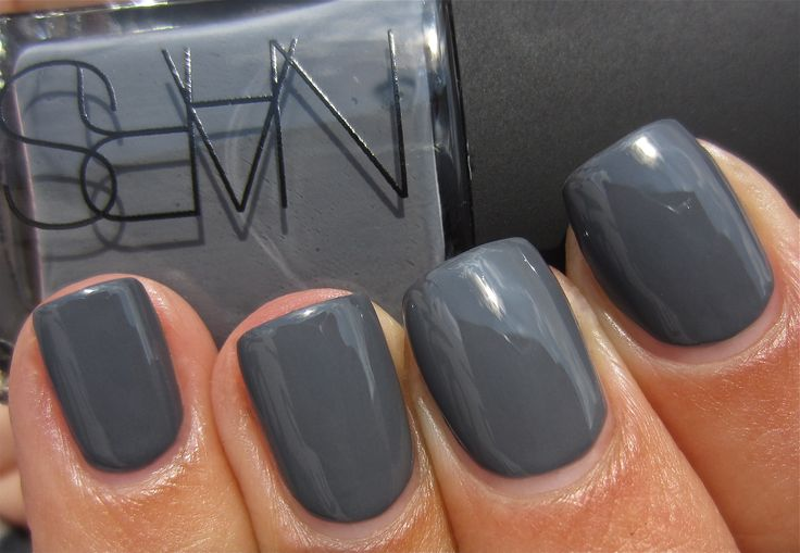 """On my toenails this week after an amaa-aa-hazing lavender pedicure:  NARS """"Stormbird,"""" a perfect gray polish."""