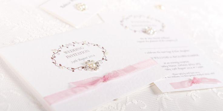 Vintage Handmade Wedding Invitation Design - vintage frame and ribbon