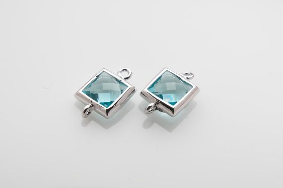 10% OFF For 10 Pieces Aquamarine Glass Connector, Square Glass, Polished Rhodium Plated Over Brass - 10 pieces / SGLP0003G/AQUAMARINE/PR