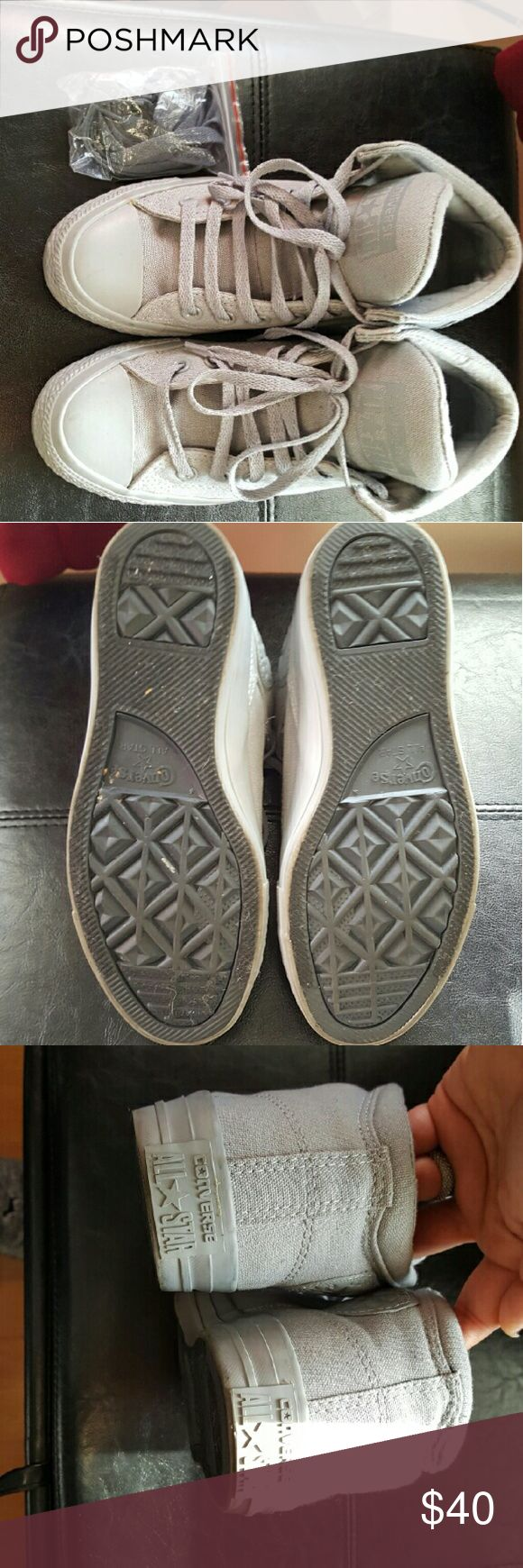 Messy_Boutiqu3 - Grey High Top Converse - Womens Size 7; Men's Size 5 - Worn a few times. - Comes with extra pair of laces - All Grey Converse Shoes Sneakers