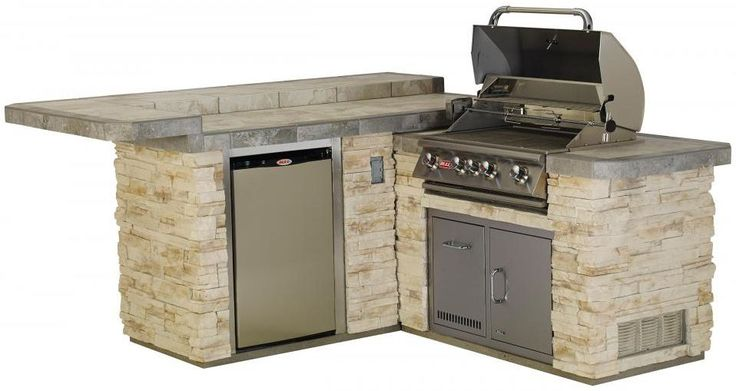 Bull BBQ Junior Gourmet Q Complete BBQ Island comes standard with a 30 Inch Built In Gas Grill Single Access Door with Lock and Key Refrigerator and a GFCI Outlet 31022 and 31023 Op