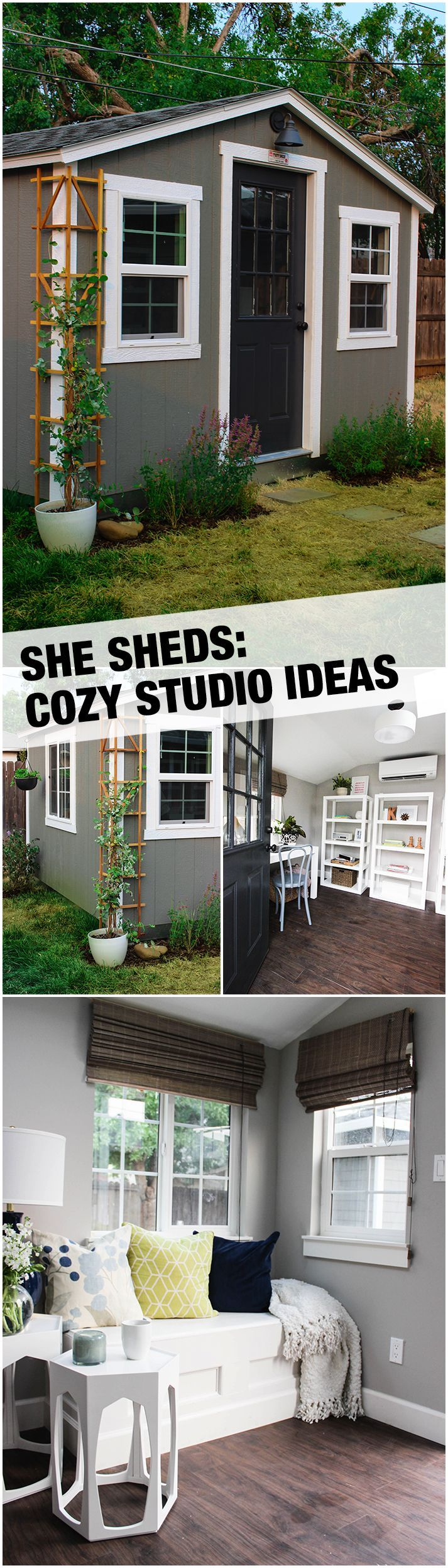 This remarkable She Shed is not just a cozy backyard retreat, it's a fully functional work room and small studio, too. The Home Depot Home Services team assisted with the installation of several key features, turning this simple shed into a deluxe retreat that includes built-in window seats (with hidden storage), air conditioning, a skylight and more. See more She Shed inspiration on The Home Depot blog.