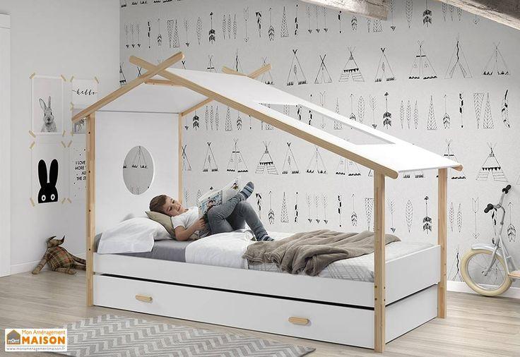 lit enfant cabane tipi et lit gigogne en pin massif et mdf blanc chambre d 39 enfant. Black Bedroom Furniture Sets. Home Design Ideas