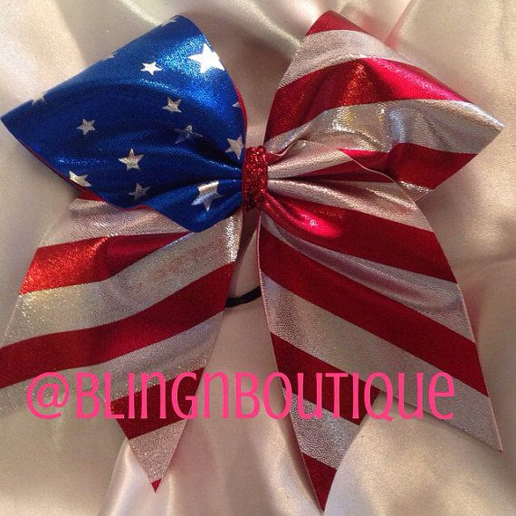 Stars and Stripes Cheer Bow if i become a cheerleader again  ill get this bow and wear around my grandpa