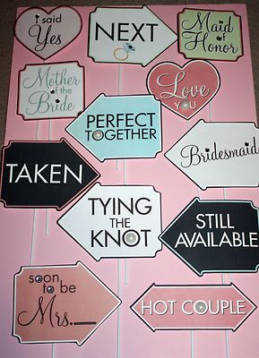 Lot 12 Wedding Photo Booth Props Party Birthday Event Photos New 1 Free Lot B | eBay
