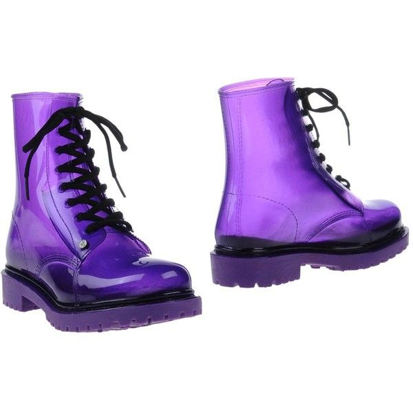 G•six Workshop Ankle Boots (175 PLN) ❤ liked on Polyvore featuring shoes, boots, ankle booties, purple, purple rubber boots, round toe booties, lug sole booties, army boots and rubber boots