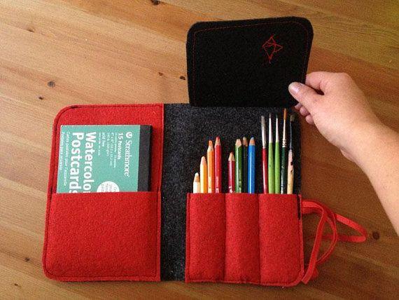 Gray red black handmade pencil case triangle draw eco friendly