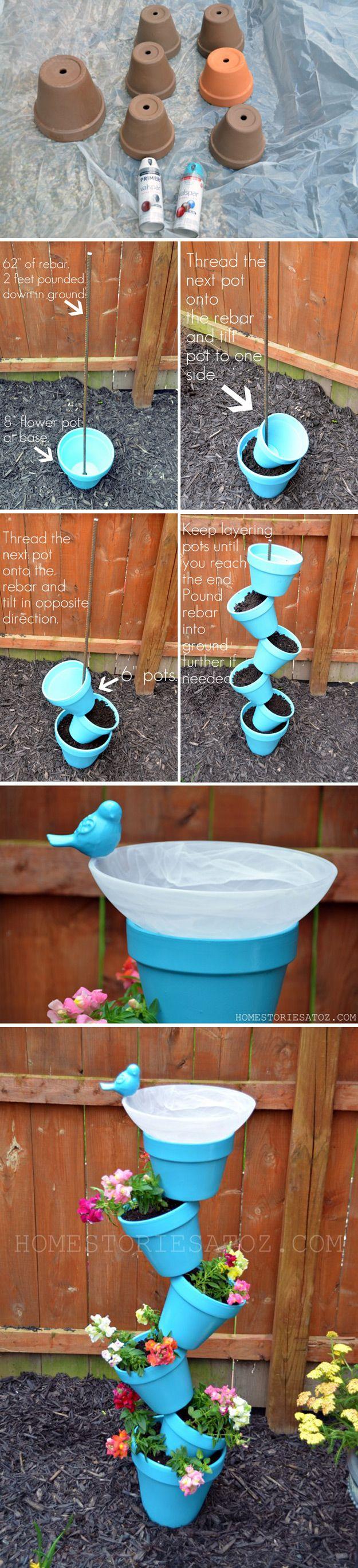 DIY Planter and Bird Bath   Easy Backyard Project for Plants by DIY Ready at http://diyready.com/easy-backyard-projects/