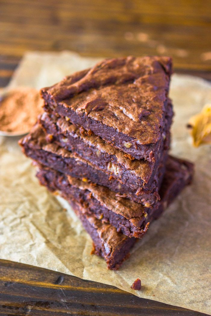 Quick and easy to make 4 ingredient healthy protein brownies are moist and fudgy and contain NO SUGAR, NO EGGS, NO OIL, AND NO FLOUR! They are naturally Vegan, gluten-free, and paleo. Enjoy they fo…