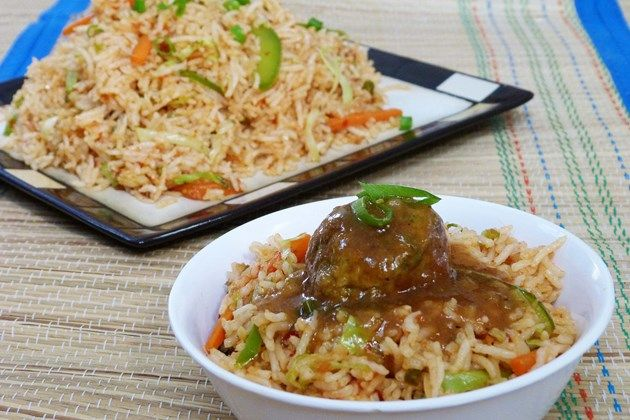 chinese Rice Recipes for Dinner | ... rice with Veg Manchurian with gravy . It was spicy, hot dinner for us