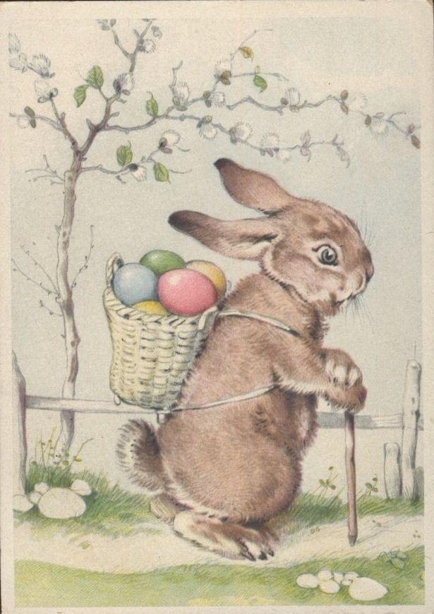 Открытка пасхальная заяц