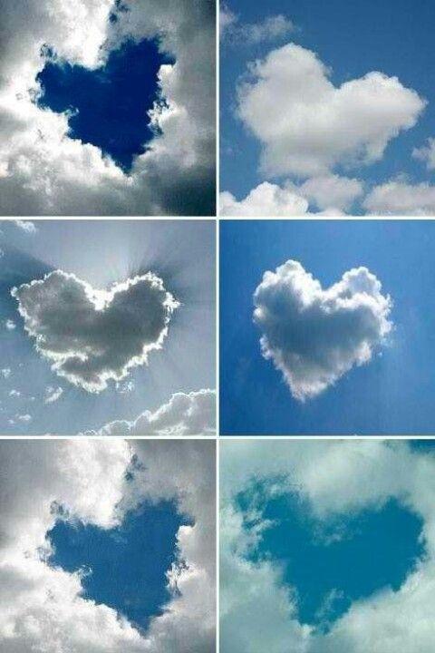 Dit zijn normale wolken in de lucht, maar je ogen zijn ingesteld er automatisch een hartjes-vorm in te zien.