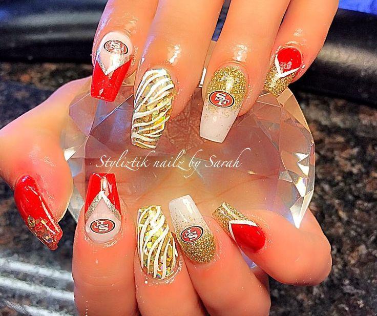 Acrylic 49ers nails