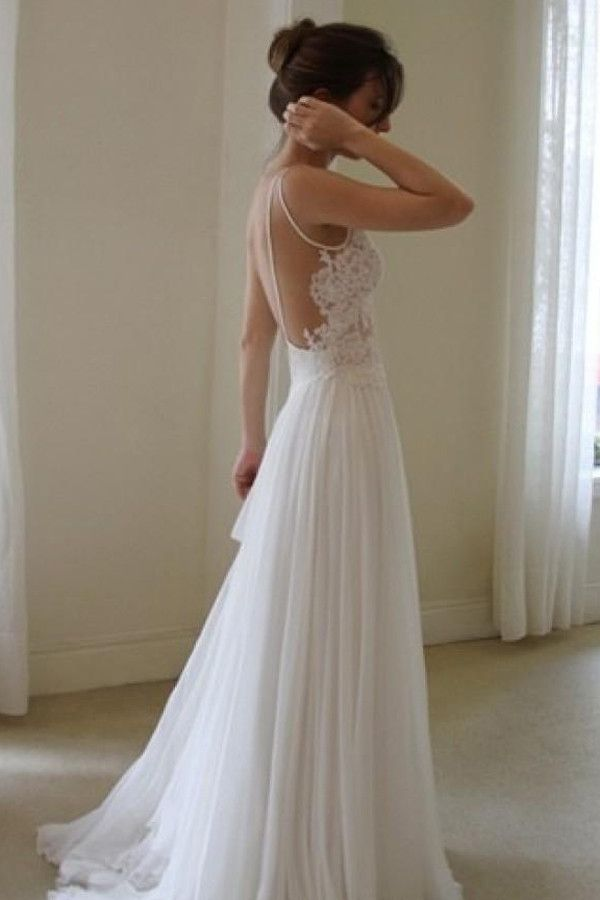 White Simple Lace Bridal Gown Sexy Backless Cheap Wedding DressSW56