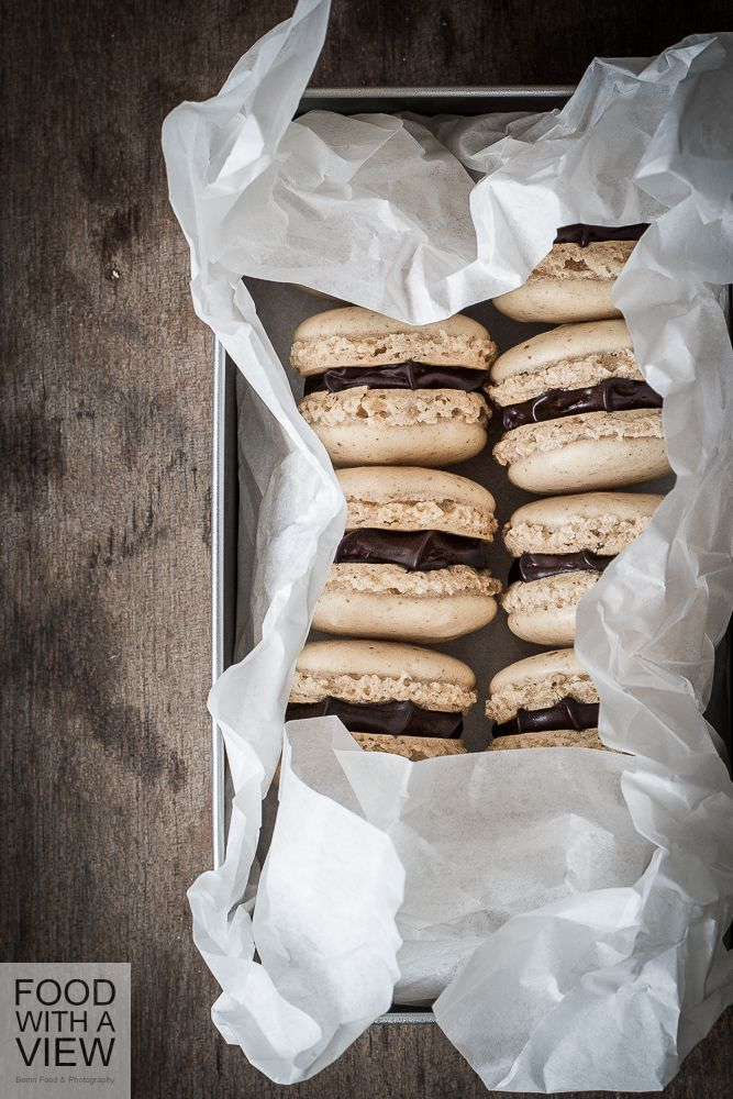 walnut macarons with chipotle ganache