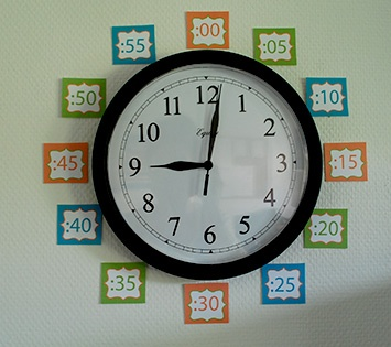 Good way to help students read time on the classroom clock to the minute.