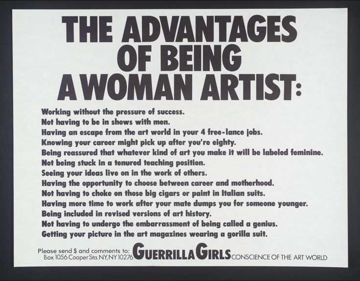 Guerrilla Girls '[no title]', 1985–90 © courtesy www.guerrillagirls.com (The Modern, Fort Worth)