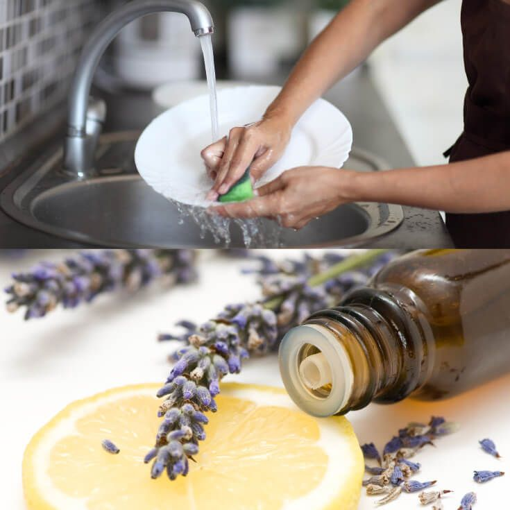 Homemade Dish Soap with Lemon and Lavender Oil