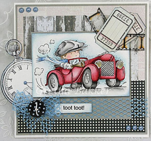 handmade card ... LOTV's Ideas to Inspire: Boys ... Toot Toot ... adorable image with Vintage Boy in red roadster ... Lilly of the Valley