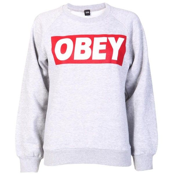 Obey Sweatshirt in Grey ($15) ❤ liked on Polyvore featuring tops, hoodies, sweatshirts, shirts, sweaters, gray shirt, shirts & tops, grey shirt and grey sweatshirt
