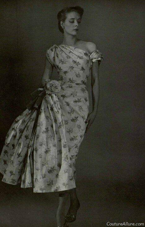 Madame Gres, Draped silk evening dress 1954