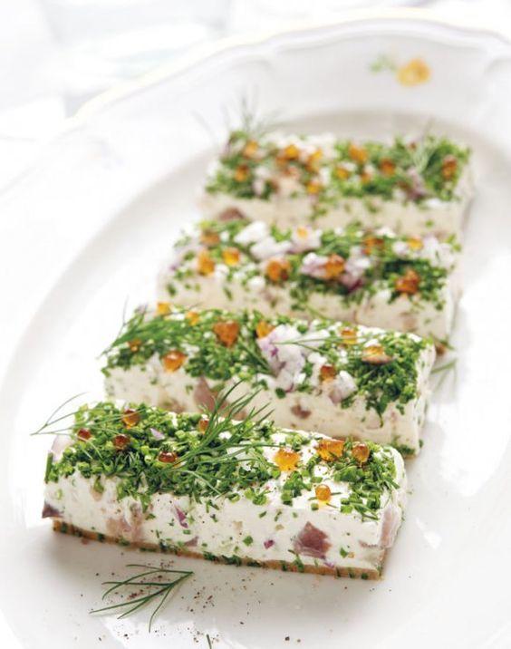 [ Matjessillcheesecake med forellrom ] 200g kavring / 25g smör / 150g matjessill / 3dl kesella / 2dl crème fraiche / 1 rödlök / 1 kruka dill / 1 kruka gräslök / salt + peppar / 3 gelantinblad / 4msk citronjuice / forellrom | Mixa kavring, smält smör. Lägg i form med löstagbara kanter. Ställ kallt. Hackad matjessill blandas m kesella, crème fraiche, det mesta finhackade rödlöken + hackade örterna, krydda. Blötlägg gelatin. Koka citronsaft, lägg i gelatin. Blanda allt i formen. Kallt minst 2…